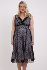 Elodie Black Spotty Midi Dress