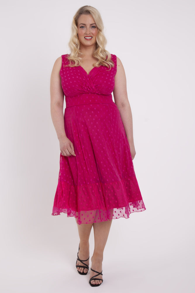 Elodie Fuchsia Spotty Midi Dress