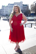 Scarlett & Jo Dresses Elodie Red Spotty Midi Dress