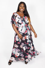 Emily Black Floral Float Sleeve Maxi Dress
