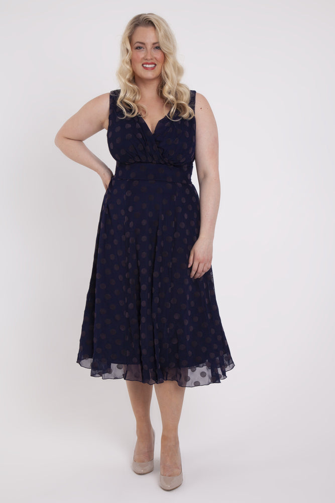 Emma Vintage Midnight Spot Midi Dress