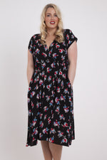 Fiona Black Ditsy Cross Front Pocket Dress
