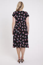 Scarlett & Jo Dresses Fiona Black Ditsy Cross Front Pocket Dress