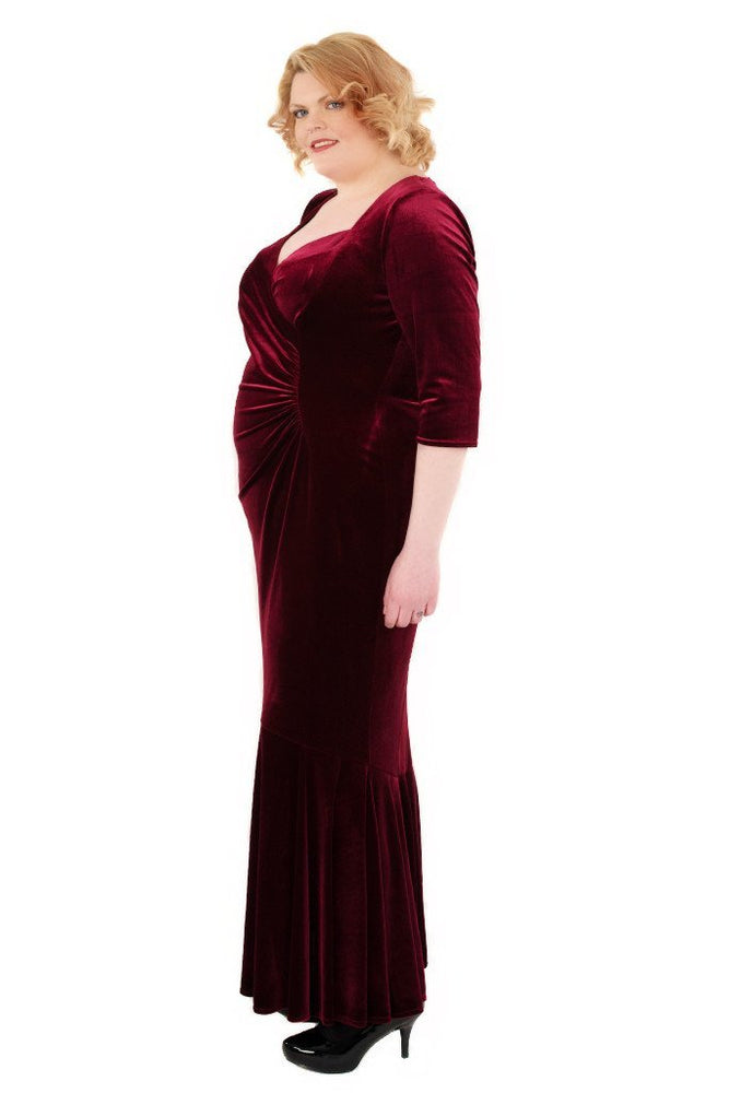 Scarlett & Jo Dresses Fishtail Velvet Maxi Dress (Magenta)