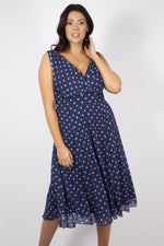Freya Blueberry and Lilac Spot Midi Dress