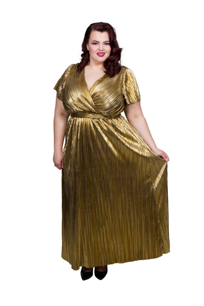 Scarlett & Jo Dresses Gold / 12 Gold Wrap Pleated Maxi Dress