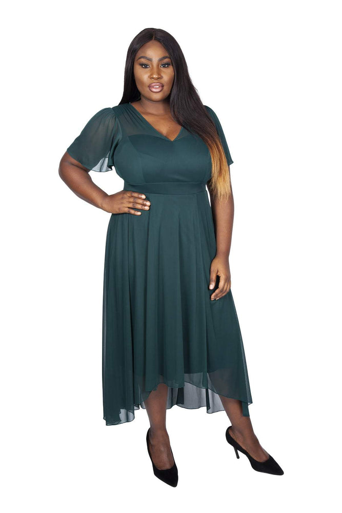 Tilly Green Angel Sleeve Sweetheart Dress