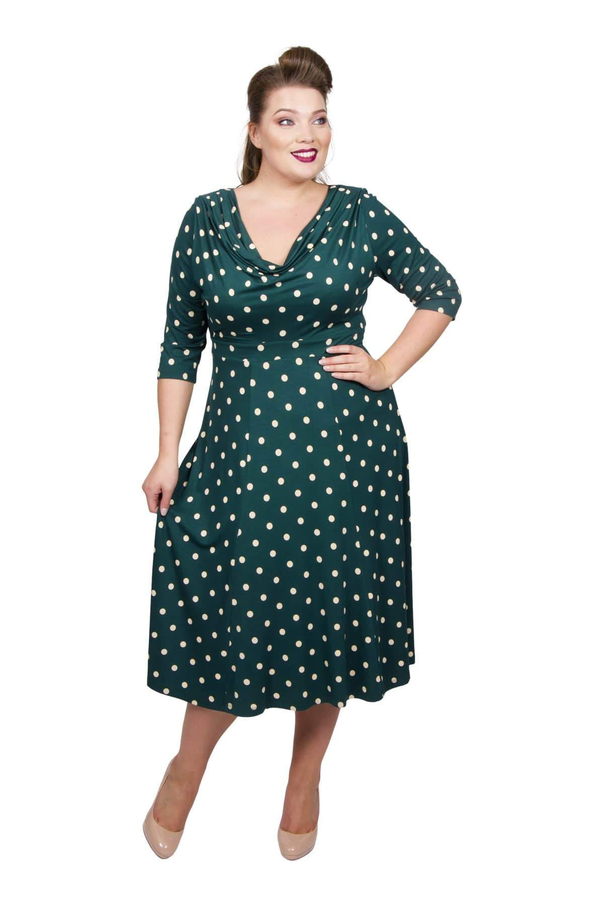 1940s Fashion Advice for Short Women Lollidot Cowl Neck 40s Dress - GreenWhite  12 £60.00 AT vintagedancer.com
