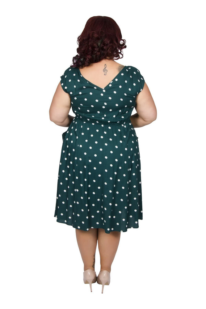 Scarlett & Jo Dresses Green/White / 10 Spot Pocket Dress