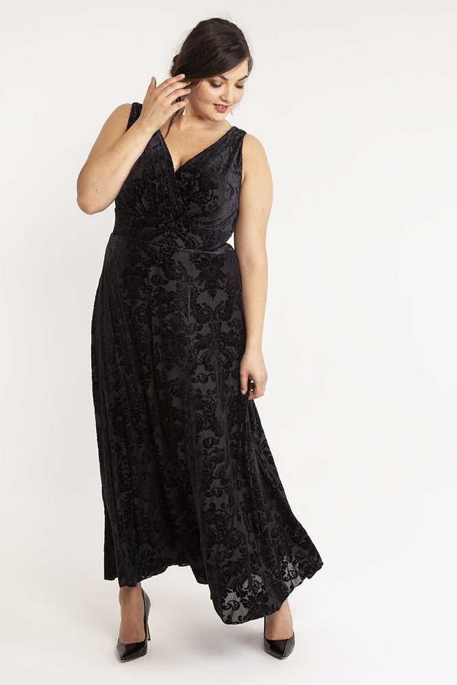 Greta Garbo Black Velvet Devore Maxi Dress