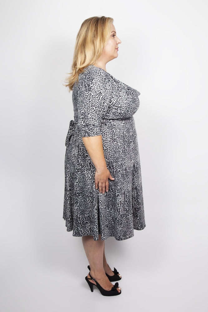 Scarlett & Jo Dresses GREY / 10 Leopard Print Cowl Neck 40's Dress