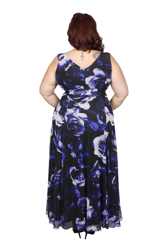Scarlett & Jo Dresses Ice Blue Rose / 12 Nancy Marilyn 'Winter Rose' Maxi Dress
