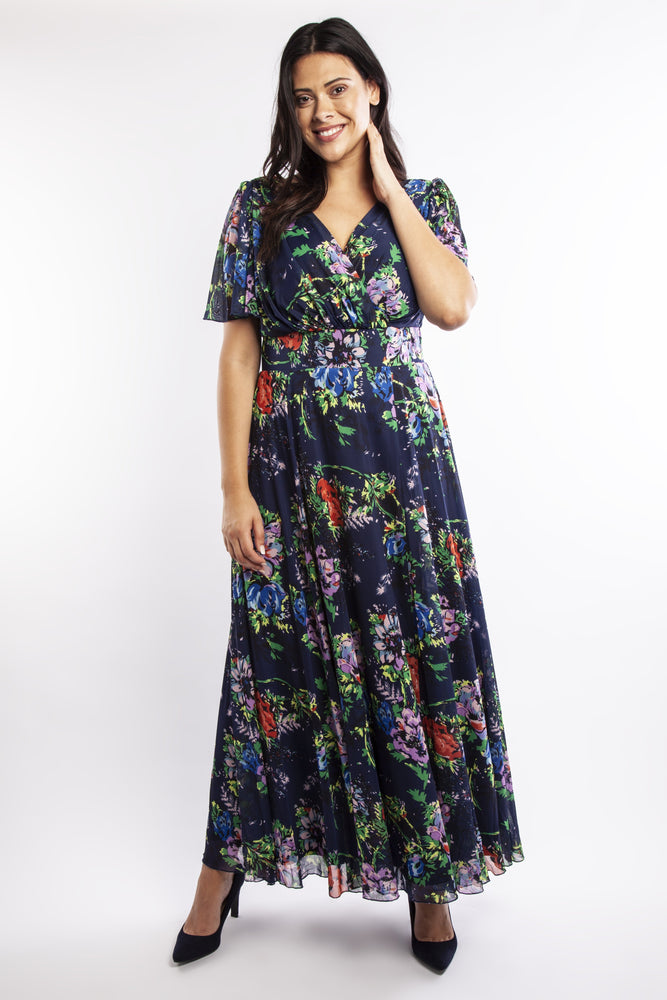 Isabelle Navy Float Sleeve Maxi Dress