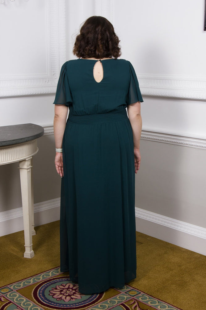 Scarlett & Jo Dresses Jewel Teal / 10 Embellished Shoulder Wrap Gown