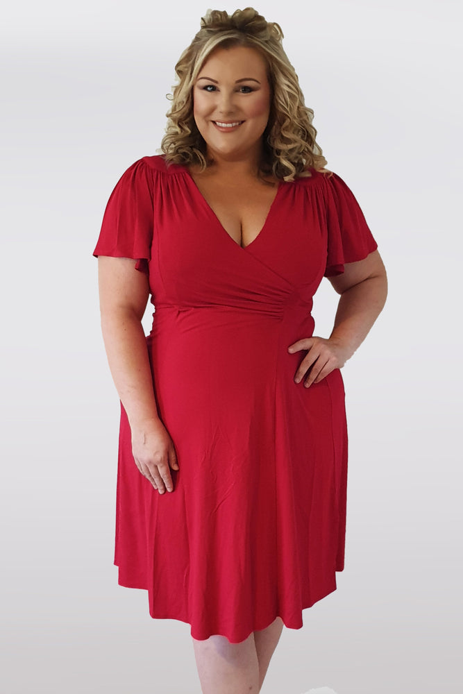 Scarlett & Jo Dresses Lana Red Wrap Fit & Flare Dress