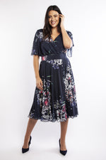 Lola Blueberry Angel Sleeve Midi Dress