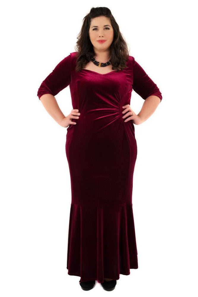 Fishtail Velvet Maxi Dress (Magenta)