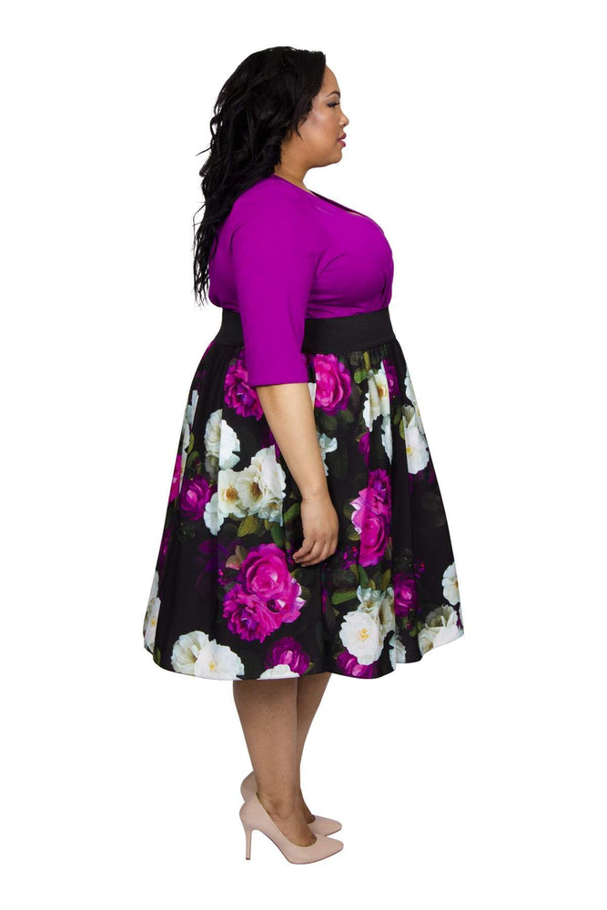 Scarlett & Jo Dresses MAGENTAWHT / 10 Wrap Floral 2 in 1 Dress