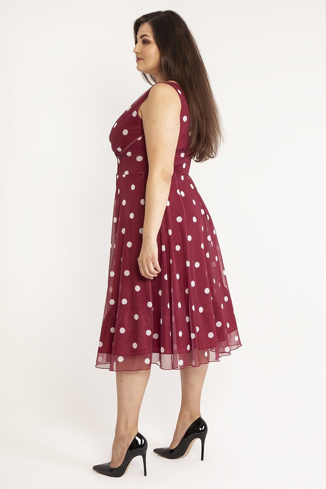 Scarlett & Jo Dresses Marilyn Wine/Ivory Spot Midi Dress