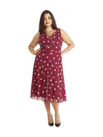 Marilyn Wine/Ivory Spot Midi Dress