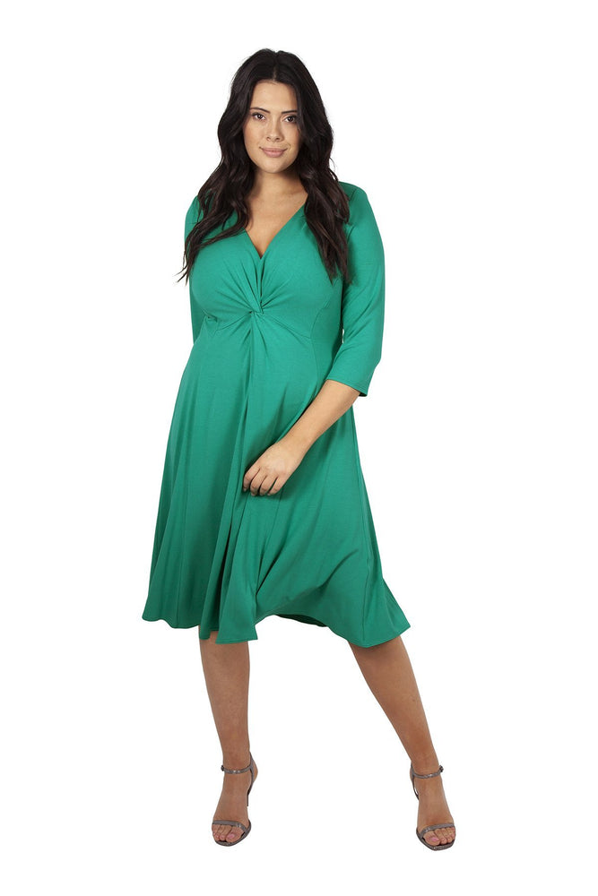 Lauren Green Jersey Knot Front Dress