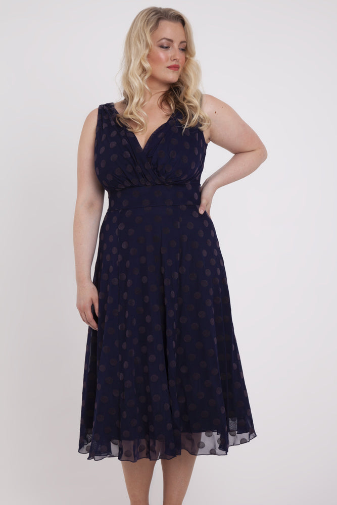 Scarlett & Jo Dresses MIDNIGHT / 10 Emma Midnight Velvet Spot Midi Dress