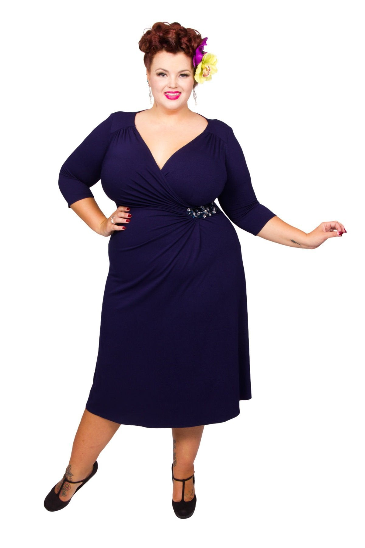 1940s Plus Size Dresses | Swing Dress, Tea Dress Side Beaded Jersey Dress - Midnight  14 £70.00 AT vintagedancer.com