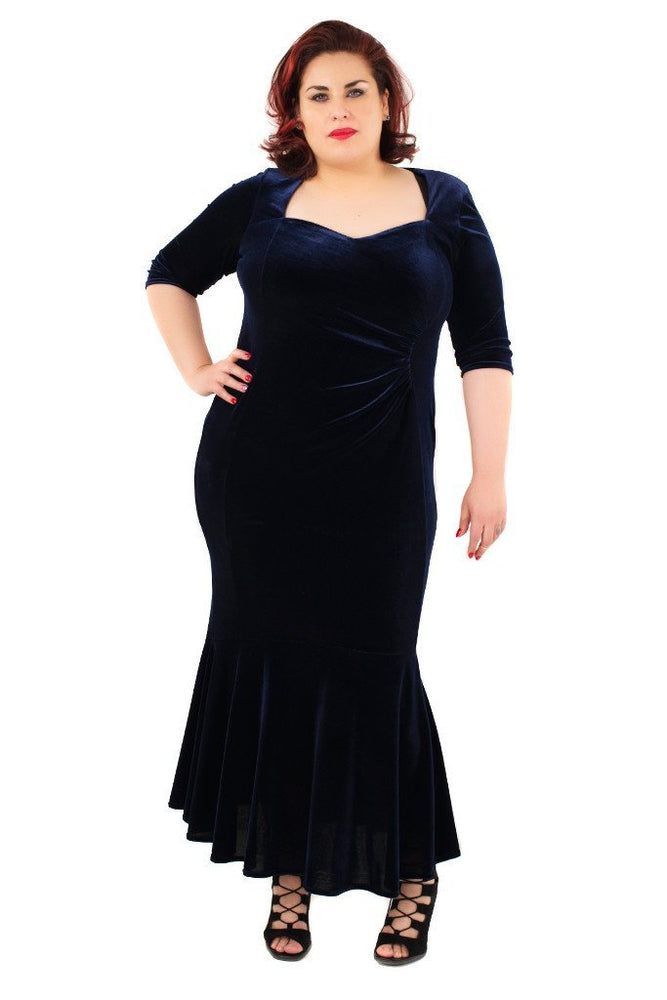 Fishtail Velvet Maxi Dress (Midnight)