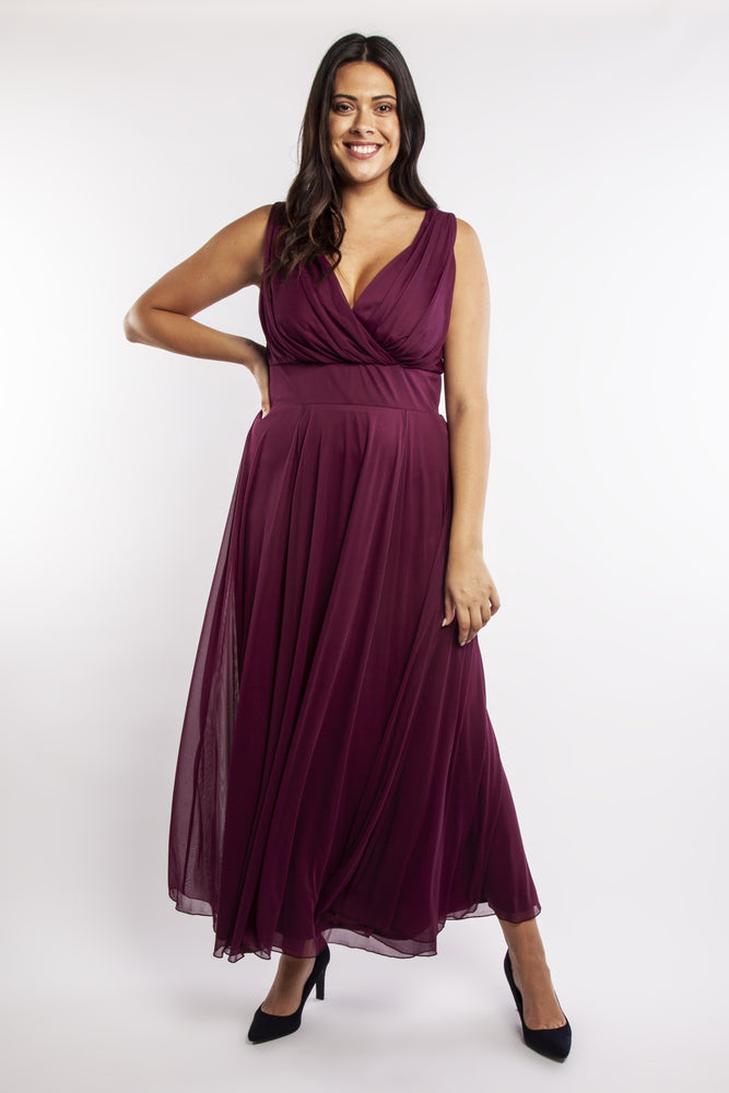 Nancy Marilyn Plum Chiffon Maxi Dress