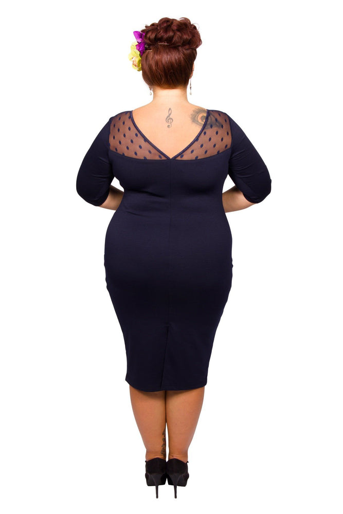 Scarlett & Jo Dresses Navy / 12 Spot Mesh Sweetheart Neck Bodycon