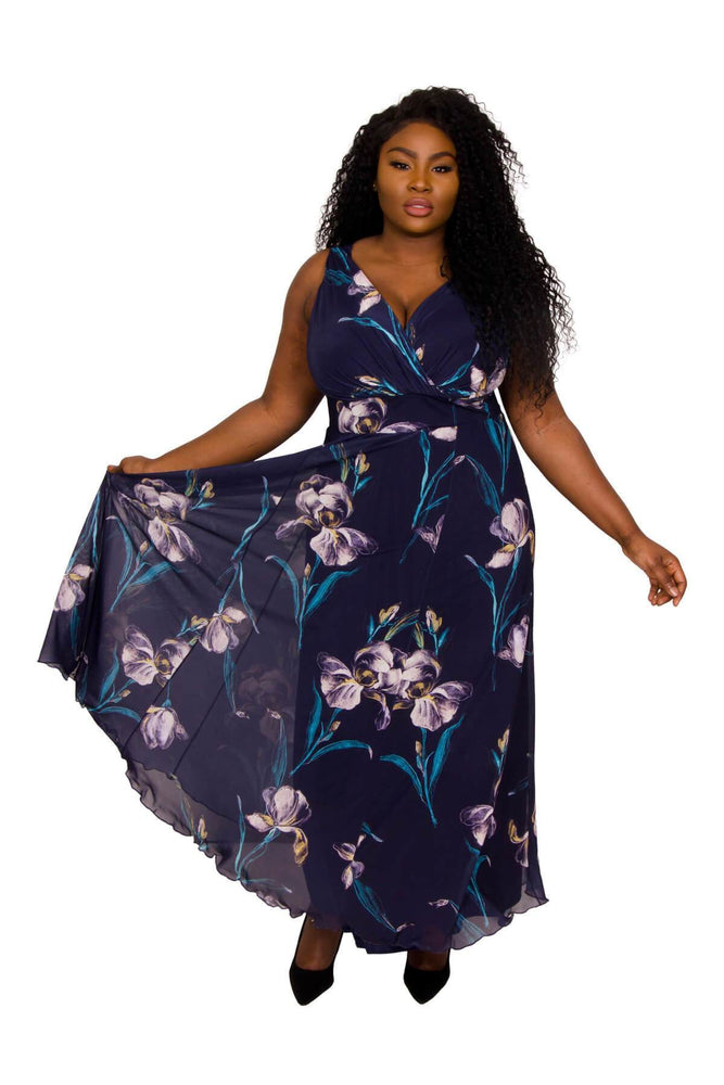"Scarlett & Jo Dresses NAVY FLORAL / 10 Nancy Marilyn ""In Tulip"" Chiffon Maxi Dress"