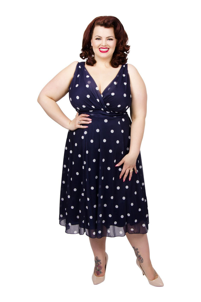 Scarlett & Jo Dresses Navy/Ivory / 10 Marilyn Spot Midi Dress