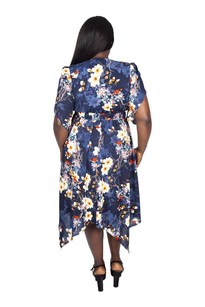 Scarlett & Jo Dresses NAVY MULTI / 10 Kimono Hanky Hem Dress