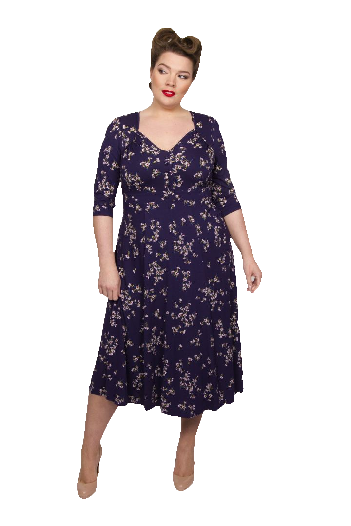 1940s Fashion Advice for Tall Women Iconic Ditsy Daisy 40s Dress - NAVYRED  18 £60.00 AT vintagedancer.com