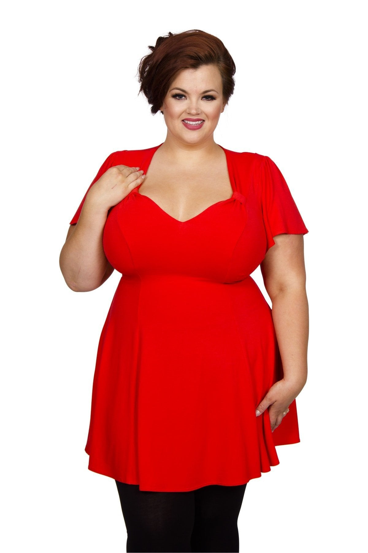 Vintage Style Maternity Clothes Fit  Flare Tunic - Paprika Red  14 �30.00 AT vintagedancer.com