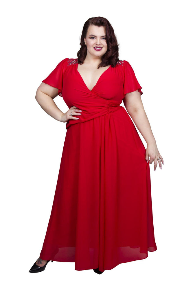 Scarlett & Jo Dresses Paprika Red / 12 Embellished Shoulder Wrap Gown