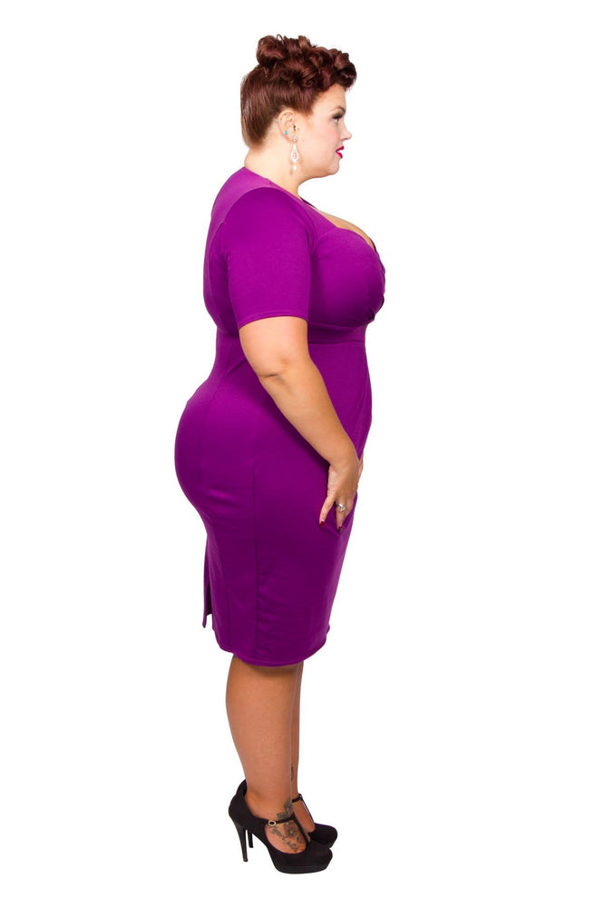 Scarlett & Jo Dresses Purple / 12 Twist Skirt Bodycon Dress (Purple)
