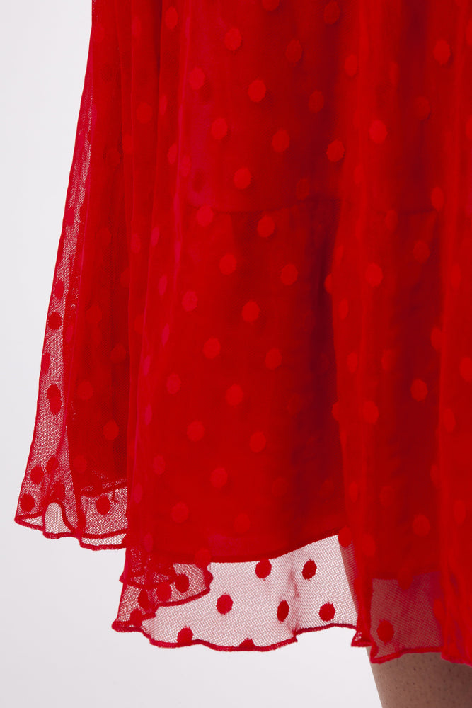 Scarlett & Jo Dresses RED / 10 Elodie Red Spotty Midi Dress