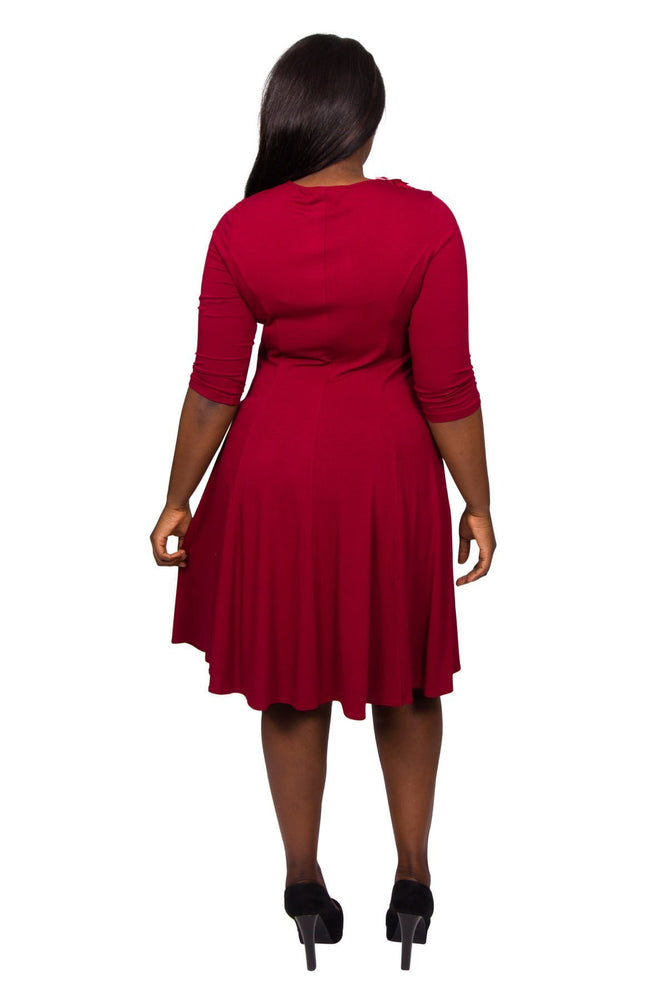Scarlett & Jo Dresses RED / 10 Petal Trim Fit And Flare Dress
