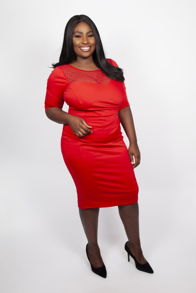 Scarlett & Jo Dresses Red / 12 Spot Mesh Sweetheart Neck Bodycon