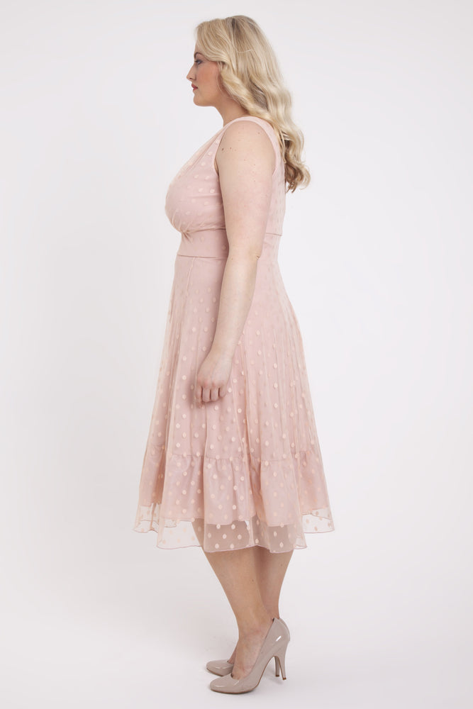 Scarlett & Jo Dresses ROSE / 10 Elodie Pink Spotty Midi Dress