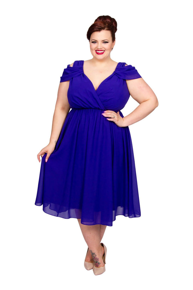 Scarlett & Jo Dresses Sapphire / 10 Sorrento Cold Shoulder Dress