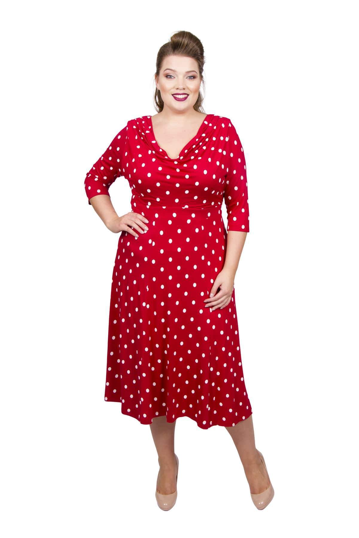 1940s Plus Size Dresses | Swing Dress, Tea Dress Lollidot Cowl Neck 40s Dress - SCARLETWHI  12 £60.00 AT vintagedancer.com