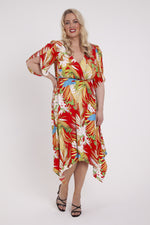 Scarlett & Jo Dresses Suzi Red Kimono Hanky Hem Dress