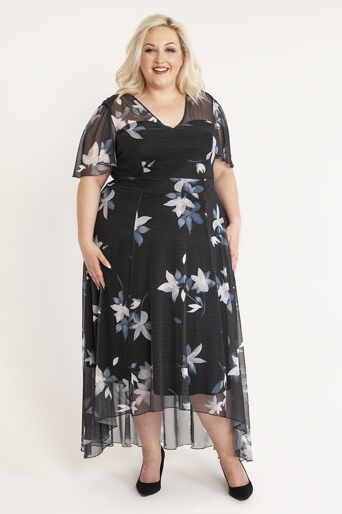 Scarlett & Jo Dresses Tilly Print Angel Sleeve Sweetheart Dress