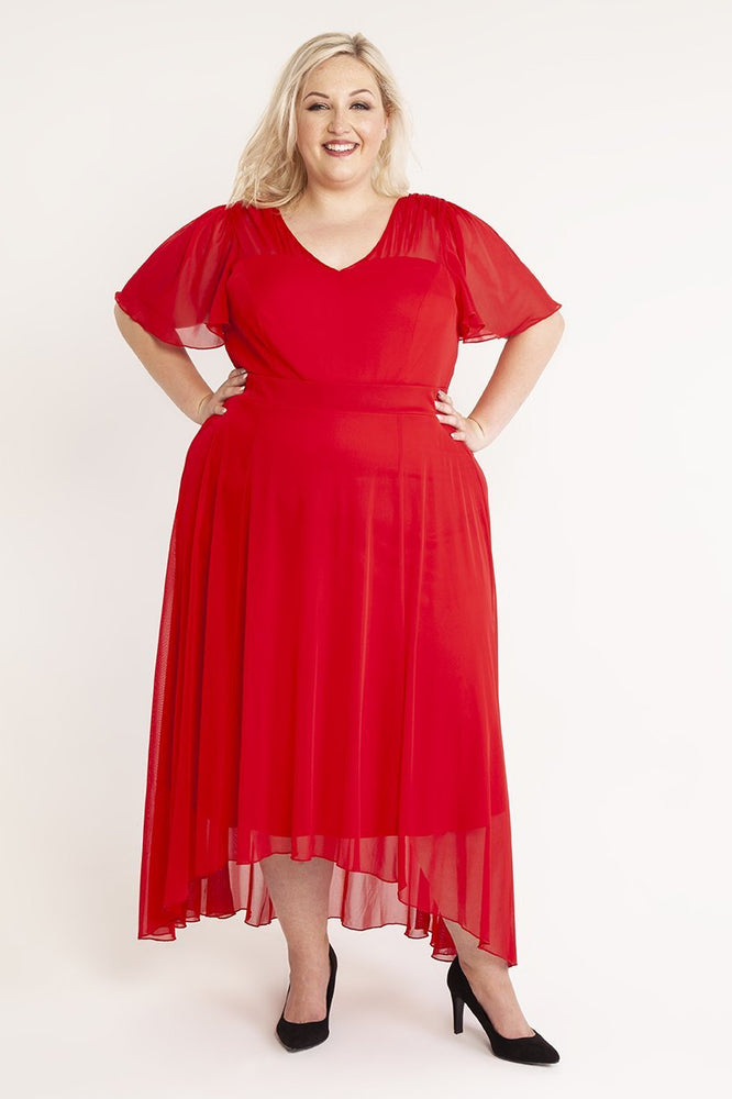Tilly Red Angel Sleeve Sweetheart Dress