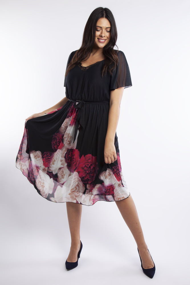 Valentina Floral Angel Sleeve Midi Dress
