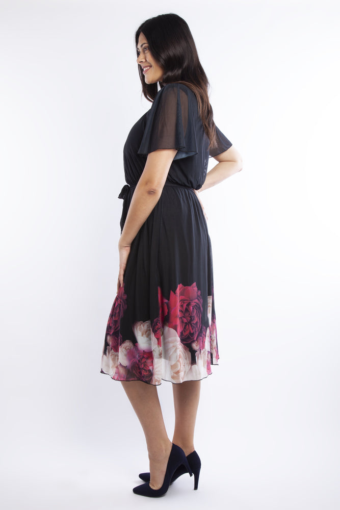 Scarlett & Jo Dresses Valentina Floral Angel Sleeve Midi Dress
