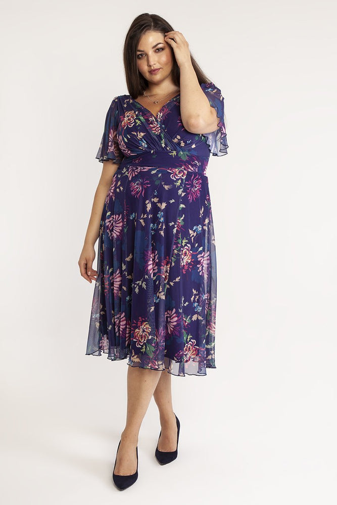 Scarlett & Jo Dresses Victoria Vintage Oriental Print Purple Angel Sleeve Mesh Midi Dress