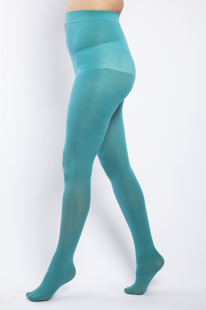Scarlett & Jo Hosiery 50 DENIER CURVY AQUA GREEN TIGHTS